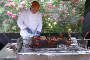 Lamb on the spit catering for outdoor events
